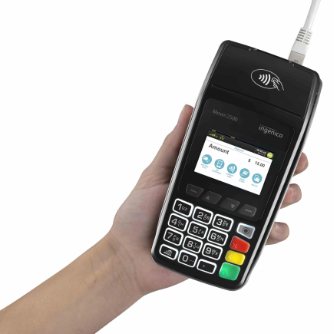 Hand holding Move2500 eftpos machine